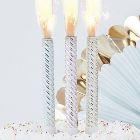 Pastel and Gold Foiled Stripe Cake Fountains - Ginger Ray - Party Touches