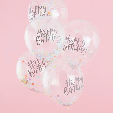 Happy Birthday Pastel Confetti Balloons - Ginger Ray - Party Touches