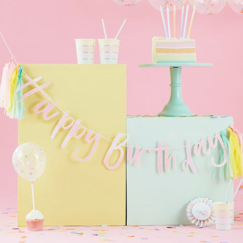 Happy Birthday Iridescent Bunting With Tassels - Ginger Ray - Party Touches
