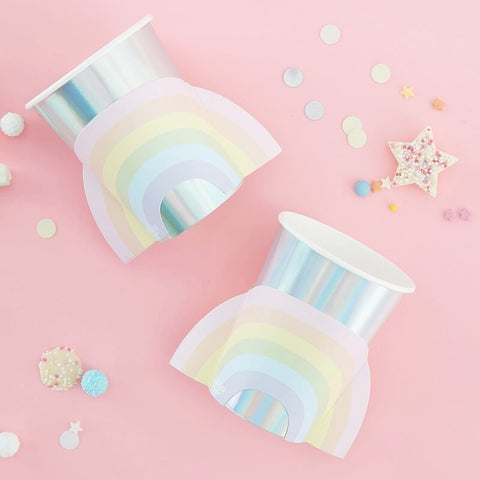 Iridescent Rainbow Paper Cups - Ginger Ray - Party Touches