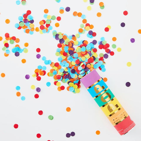 Rainbow Biodegradable Confetti Cannon - Set of 3 - Ginger Ray - Party Touches