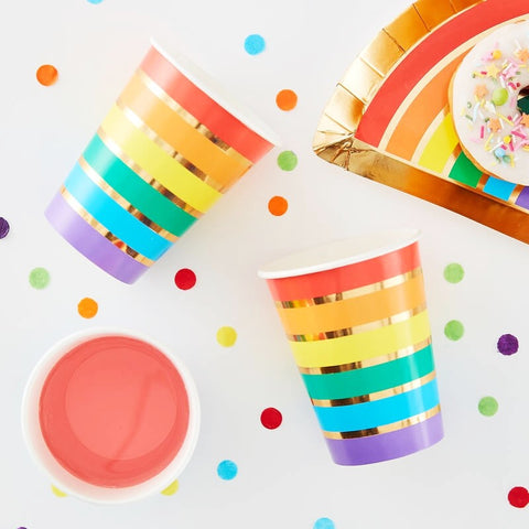 Rainbow & Gold Foiled Paper Party Cups - Ginger Ray - Party Touches
