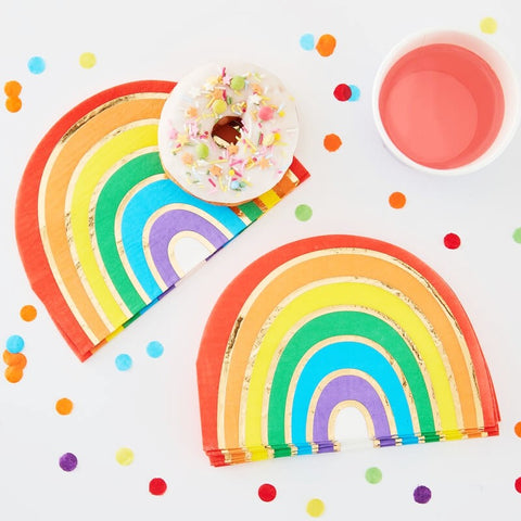 Rainbow & Gold Foiled Paper Party Napkins - Ginger Ray - Party Touches