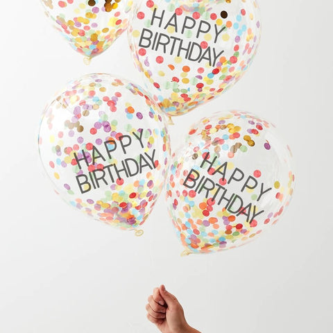 Happy Birthday Rainbow Confetti Balloons - Ginger Ray - Party Touches