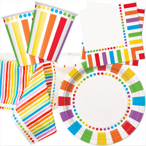 Multicoloured Party Tableware Bundle - 8 Guests - Unique Party - Party Touches