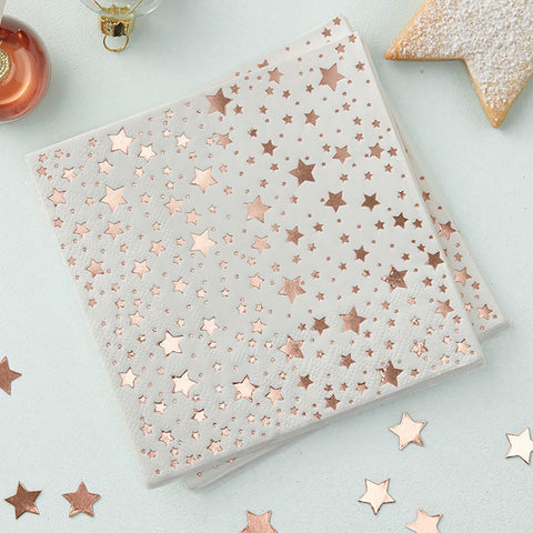 Rose Gold Foiled Star Design Paper Napkins - Ginger Ray - Party Touches
