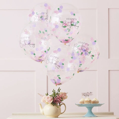 Floral Confetti Happy Birthday Balloons - Ginger Ray - Party Touches