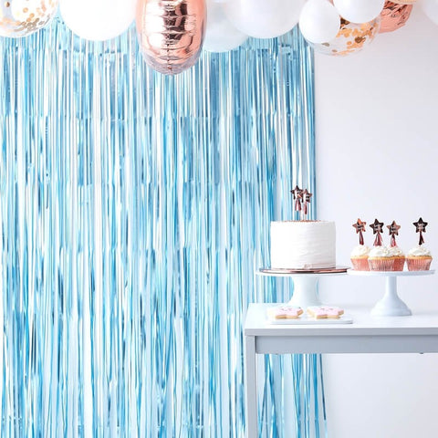Matte Blue Curtain Backdrop - Ginger Ray - Party Touches