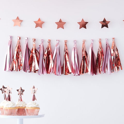 Matte Pink & Rose Gold Tassel Garland - Ginger Ray - Party Touches