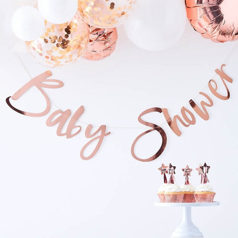 Rose Gold Baby Shower Bunting - Ginger Ray - Party Touches
