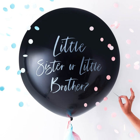 Gender Reveal Little Brother or Sister Balloon - Ginger Ray - Party Touches