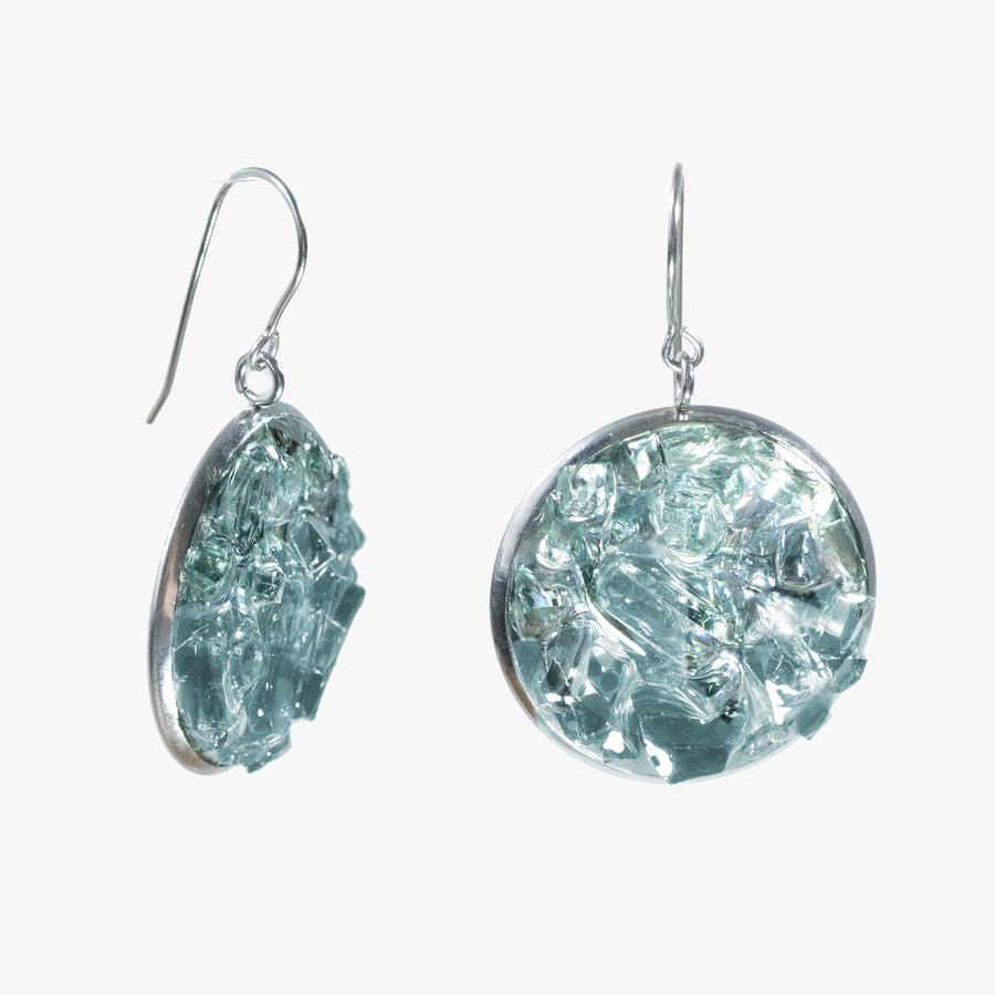 Auto Glass Earring - Large Aqua Cluster