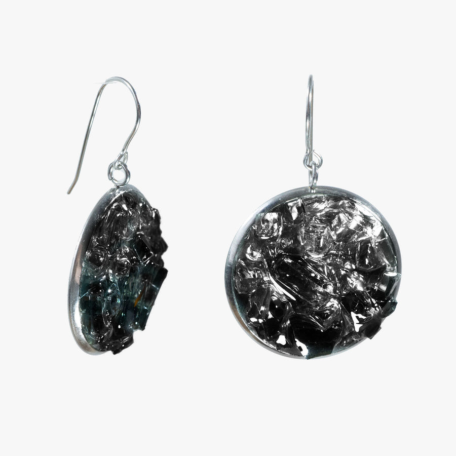 Auto Glass Earring - Large Black Cluster