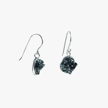 Auto Glass Earring - Small Black Dangle Hook
