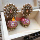 Big oval stud handpainted Jhumkas (8 colors)
