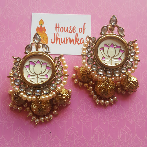 Lotus handpainted Bali jhumkas (2 colors)