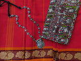 Chettinad cotton with Kalamkari blouse - 2