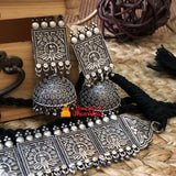Pure silver look alike choker with jhumkas