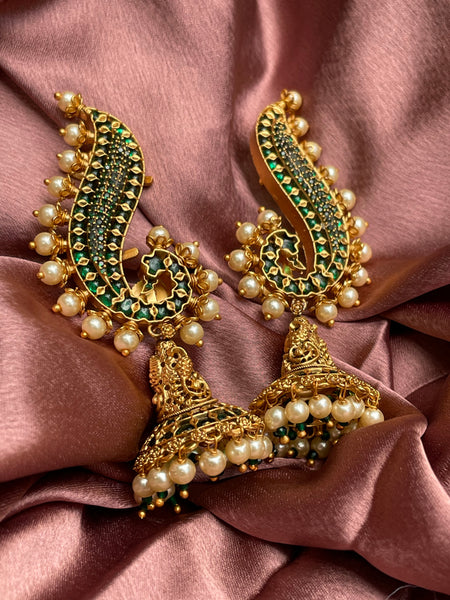 Mayoora kemp earcuff jhumkas (2 color options)
