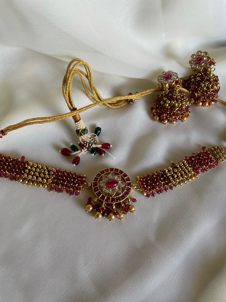 Ruby chakra cluster choker with Jhumkas