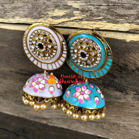 Stone cutwork Floral Jhumkas