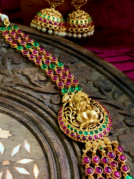 5 layer Kemp Lakshmi Haram with jhumkas