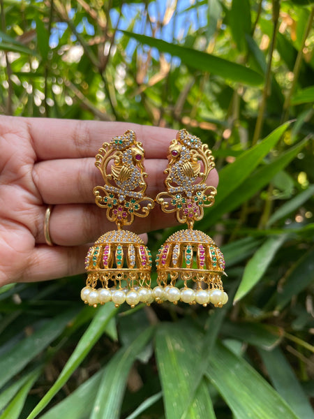 Bridal cutwork peacock Jhumkas