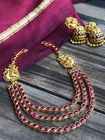 3 layer kemp mayil necklace with jhumkas