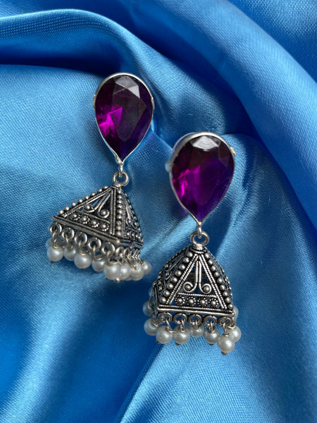 Oval crystal pyramid jhumkas (5 color options)