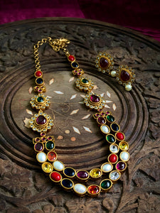 Grand navaratna layered necklace set