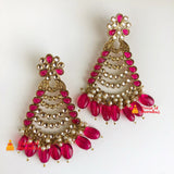 Ruby drops polki earrings