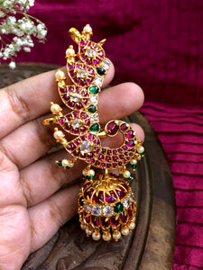 Peacock Kemp Jhumkas with ear cuff
