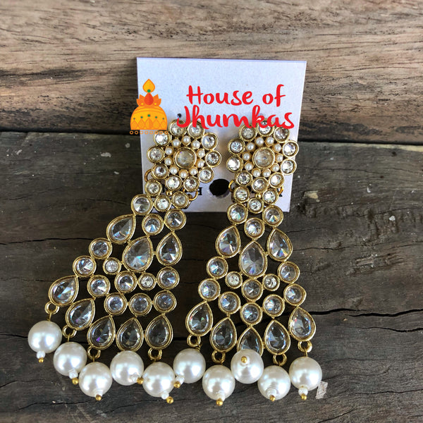 Polki pearl earrings