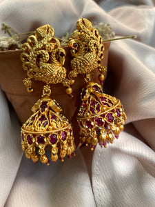 Golden peacock kemp jhumkas