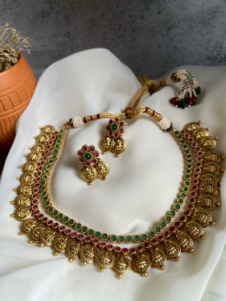 2 color bridal coin necklace with studs