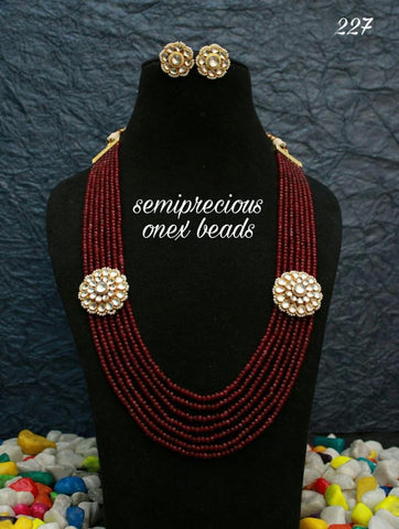 Onyx beads Haram with Kundan flowers (ruby/emerald)
