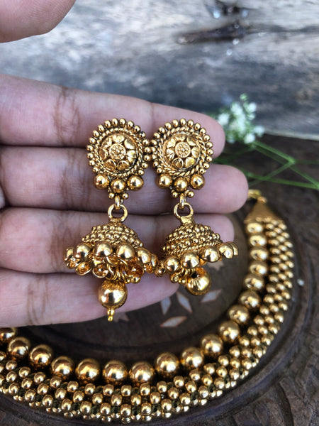 2 layer Thushi necklace with jhumkas