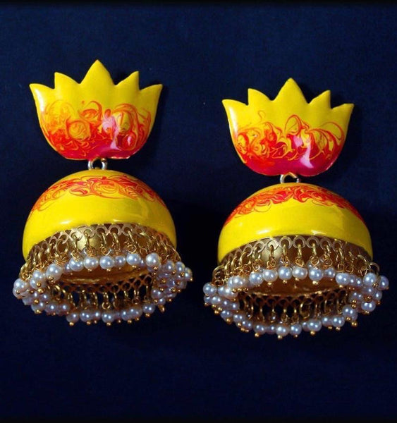 Watercolour lotus Jhumkas(3 color options)
