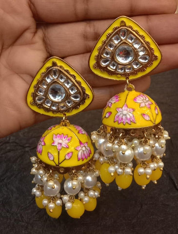 Kundan stud handpainted Jhumkas(5 colors )