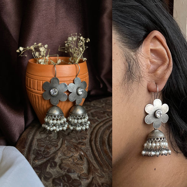 Antique flower jhumkas