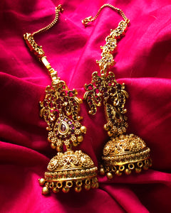 Bridal Jhumkas with real Kemp stones - II