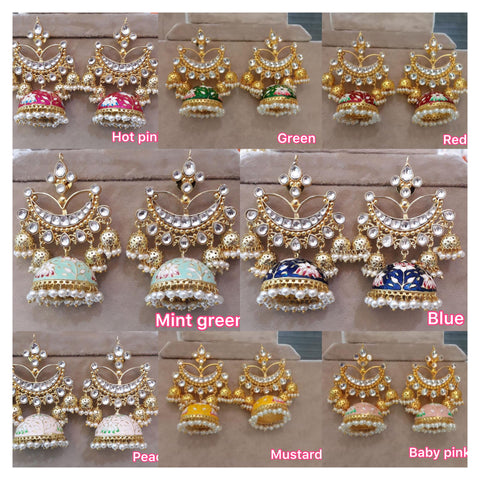 Enamel Jhumkas with Balis
