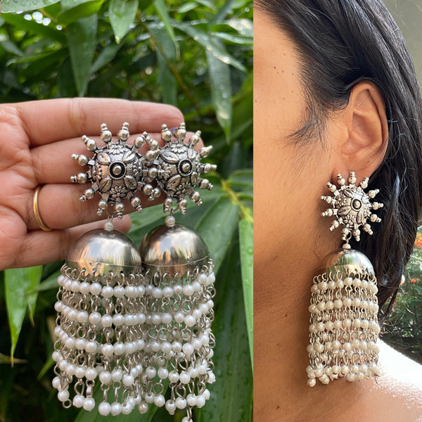 Chakra jhumkas with pearl waterfall