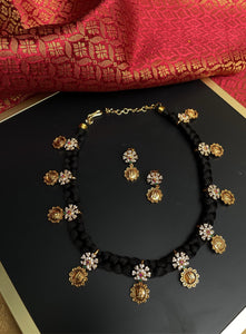 Temple design black thread necklace set