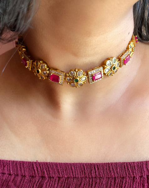Elegant ruby choker with studs