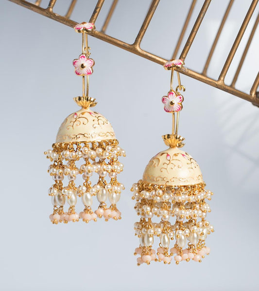 Enamel Jhumkas on a loop with pearl curtain