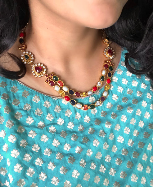 Grand navaratna necklace set
