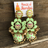 Lotus handpainted Jhumkas(3 Colors)