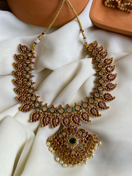 Premium temple style manga necklace with Jhumkas