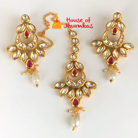 Kundan earrings Tika set (2 Colors)